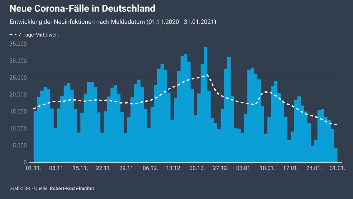 Grafik: Entwicklung der Neuinfektionen nach Meldedatum (01.11.2020 - 31.01.2021)