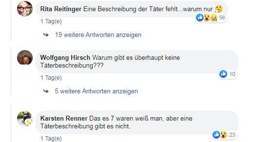 Drei von vielen Facebook-Kommentaren, die eine öffentliche Fahndung im Fall des getöteten  Augsburger Feuerwehrmanns forderten.