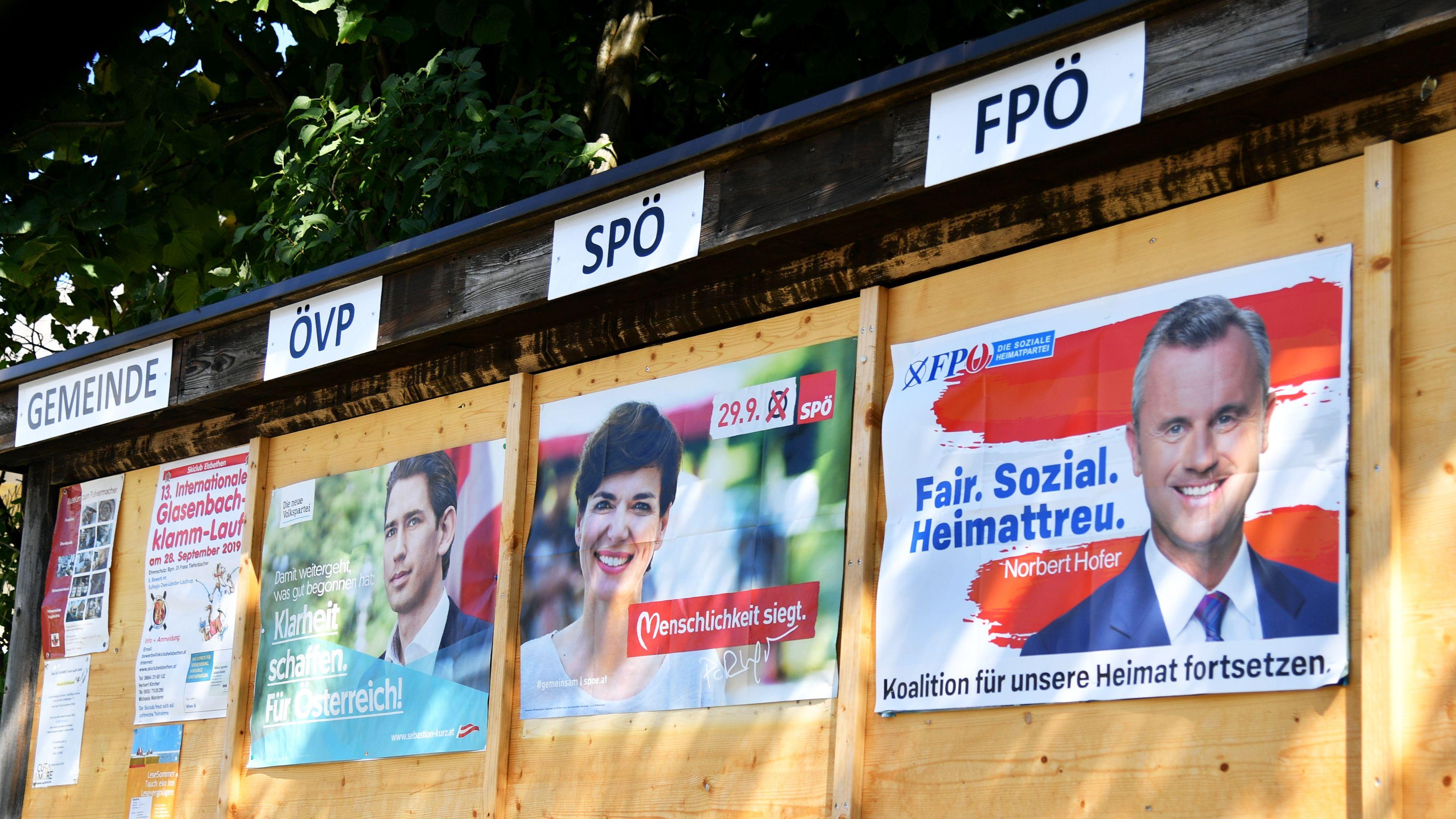 Wahlplakate der werbenden Parteien zur Nationalratswahl in Österreich
