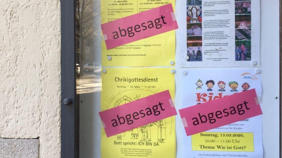 Abgesagte Gottesdienste in einer Münchner Kirchengemeinde