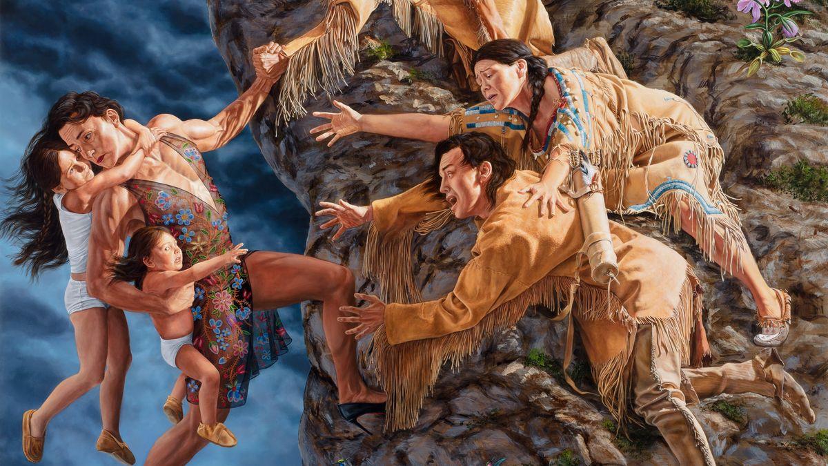 """Gemälde Kent Monkman, """"The Deluge"""" (2019, Detail): Indianer auf einem Felsen versuchen, einen Transmann und Kinder zu sich heraufzuziehen"""