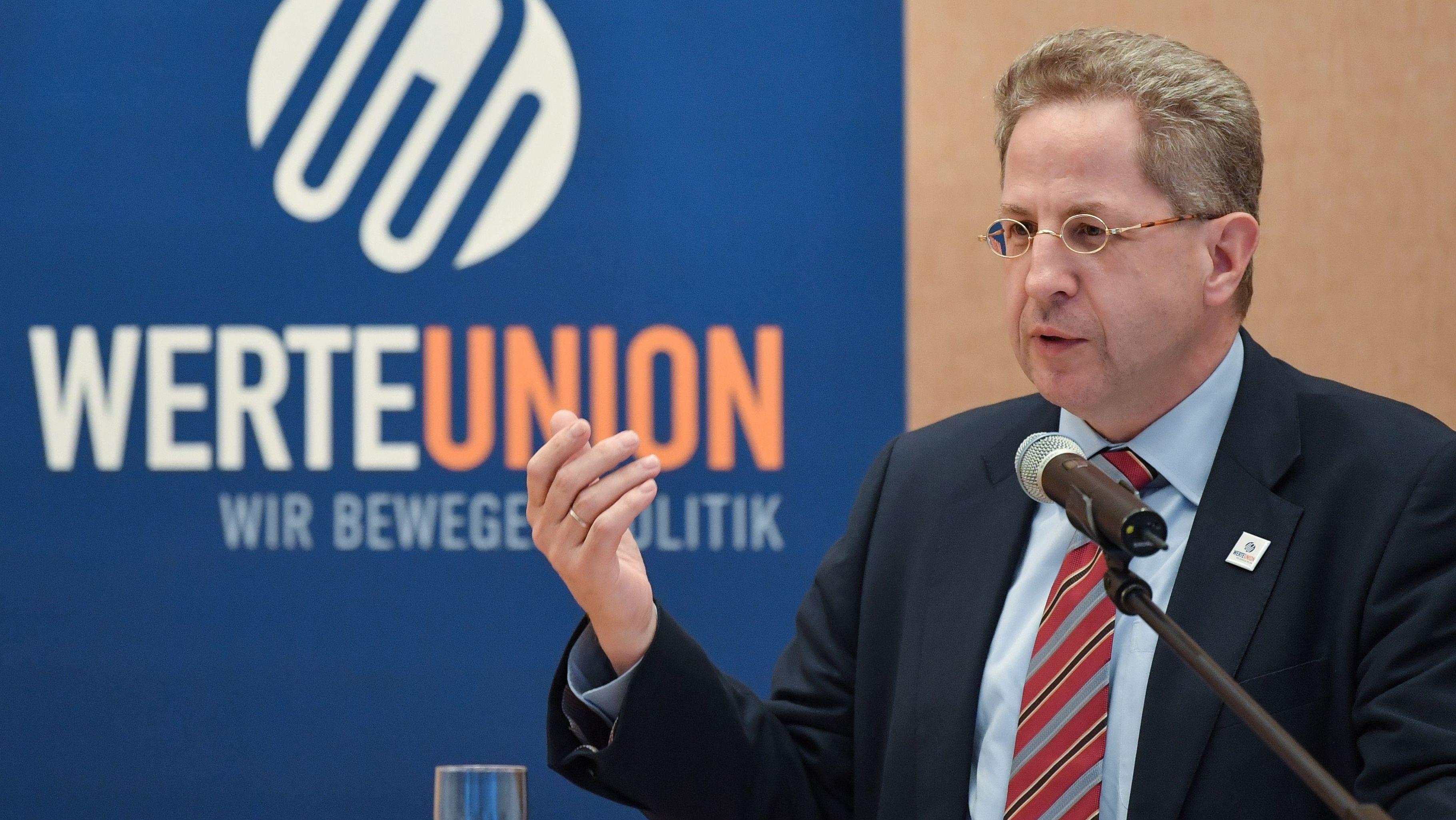Hans-Georg Maaßen (CDU), ehemaliger Leiter des Bundesverfassungsschutzes, spricht auf einem Wahlkampftermin der CDU über die Werteunion