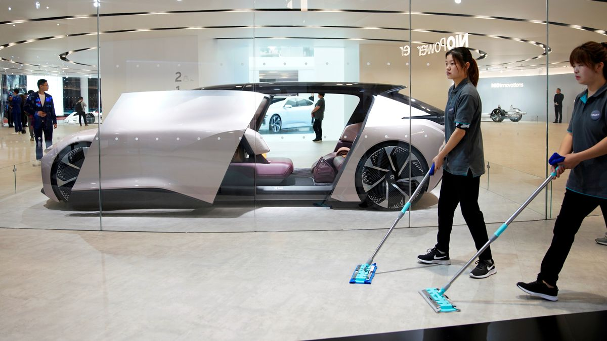 Selbstfahrendes Elektro-Konzept-Fahrzeug NIO Eve auf der Shanghai Auto Show 2019