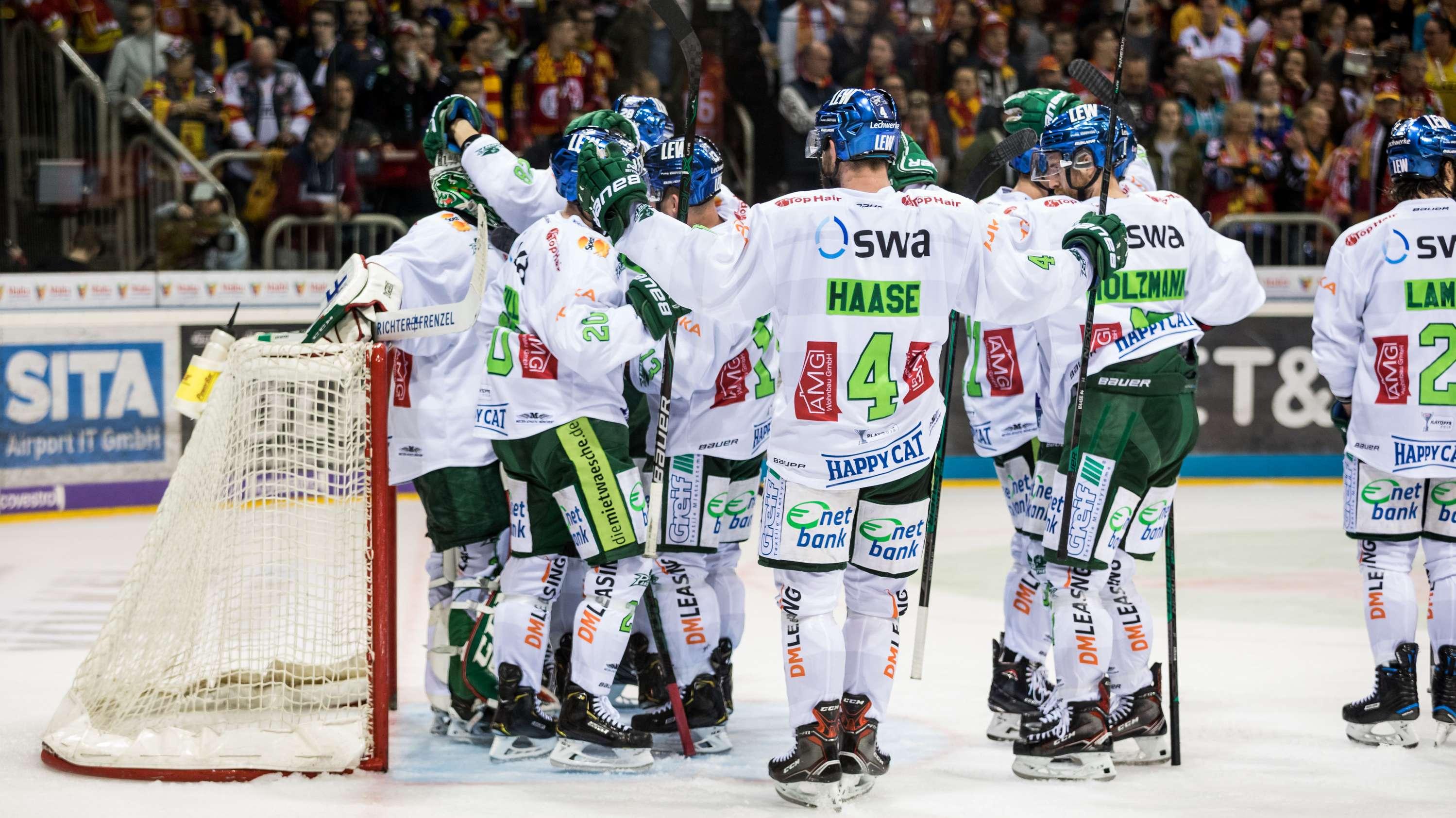 Die Eishockeyspieler des AEV.