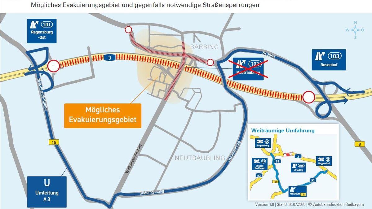 Grafik zu möglichem Evakuierungsgebiet und Straßensperrungen