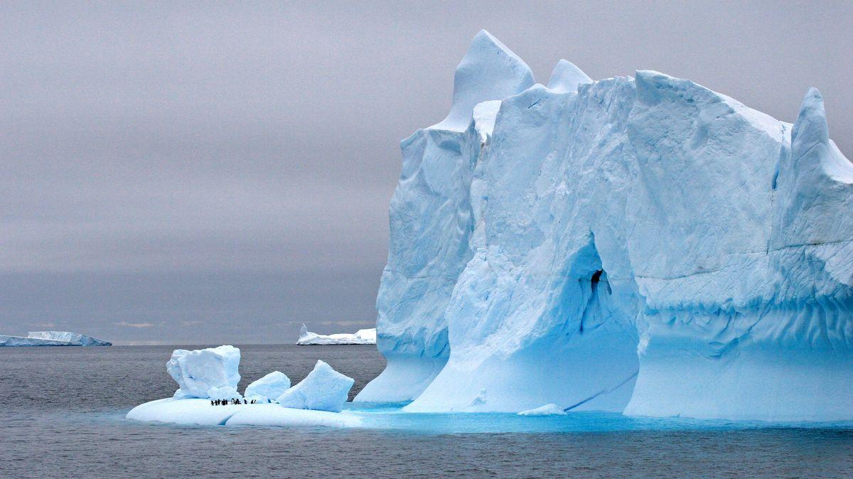 Eisberg in der Weddell-See, Pinguine auf Scholle, Antarktis, Weddell-See