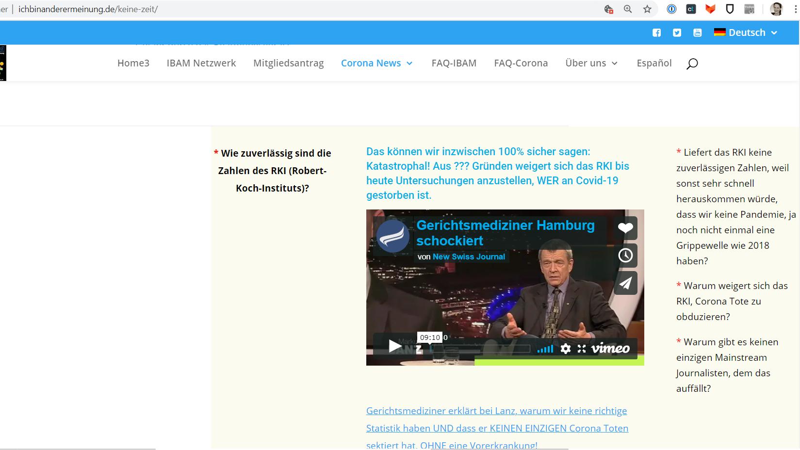 """Ein Screenshot der IBAM-Webseite mit dem Vorwurf, das RKI weigere sich """"Tote zu obduzieren""""."""