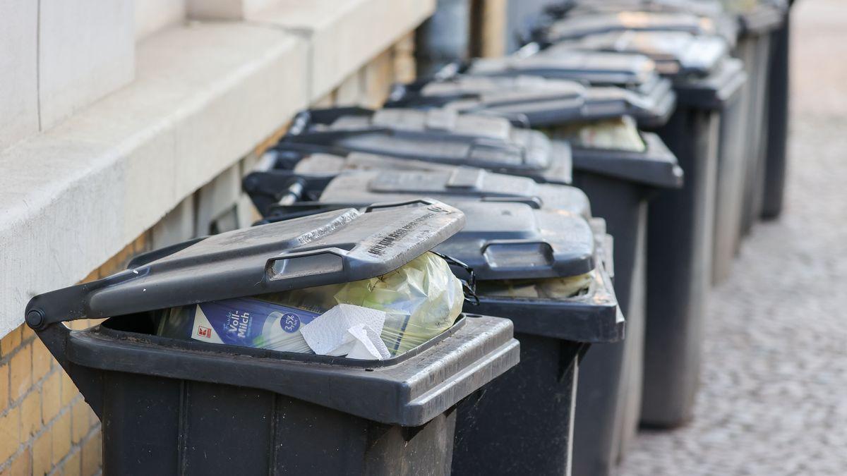 Mehrere übervolle Mülltonnen