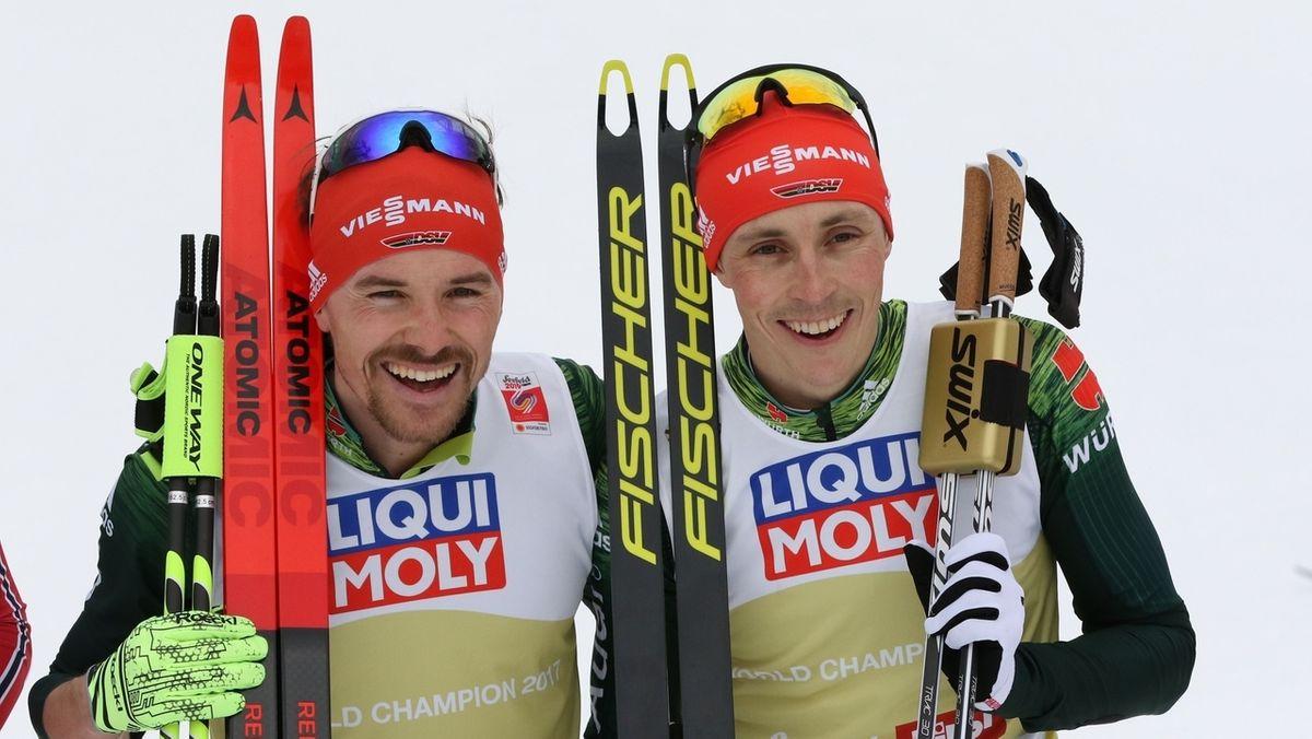 Eric Frenzel (re.) und Fabian Rießle (li.)
