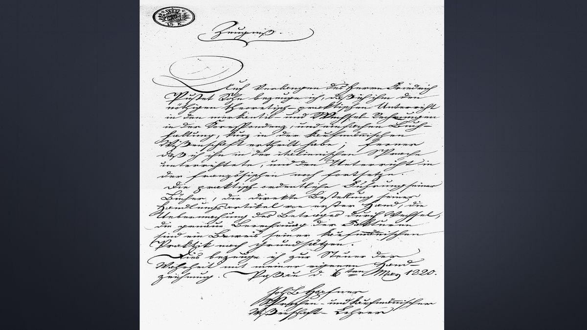 1820: Der erste Buchladen Pustet darf in Passau öffnen. Hier die Erlaubnis dafür.