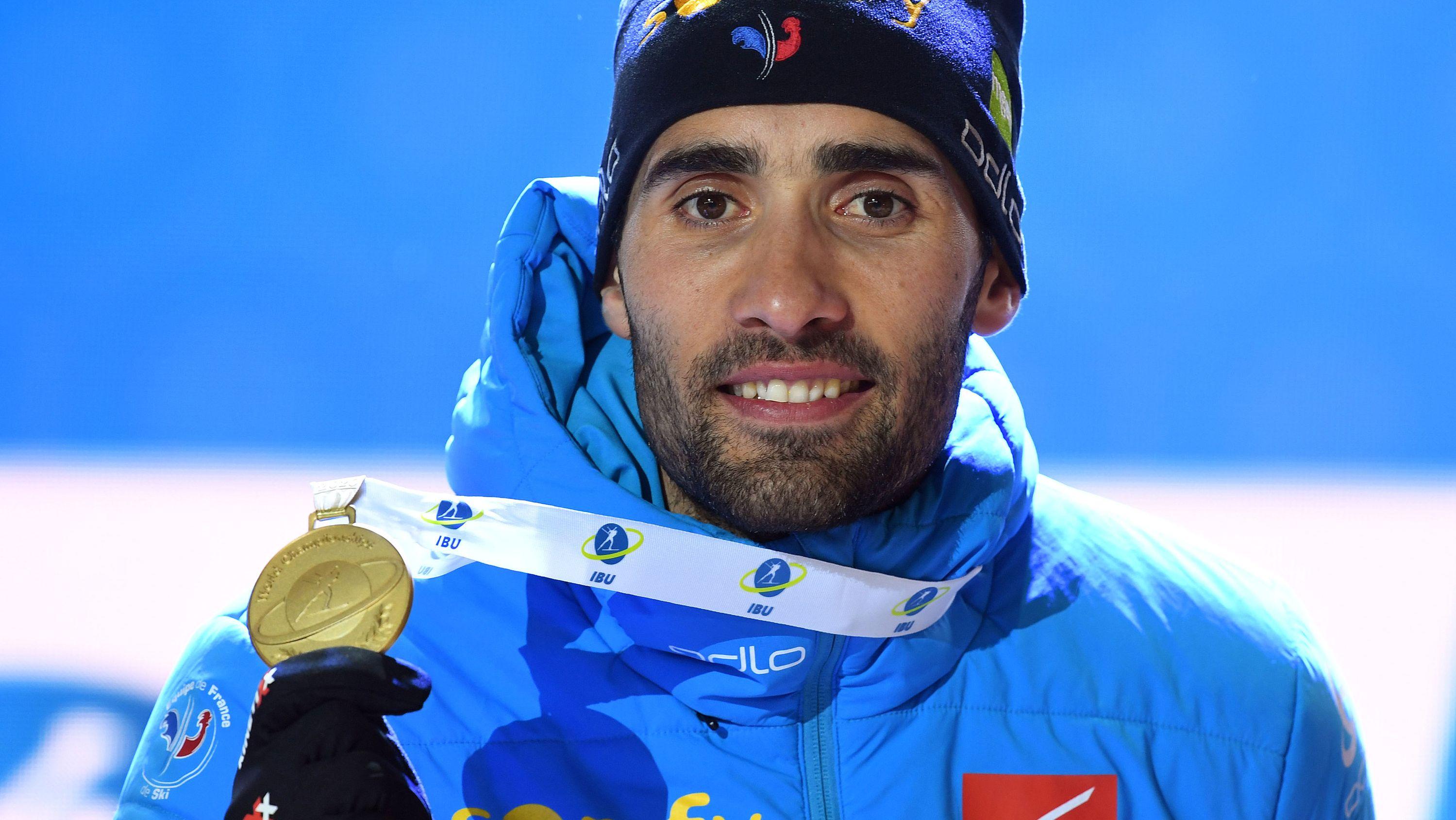 Martin Fourcade mit seiner Goldmedaille