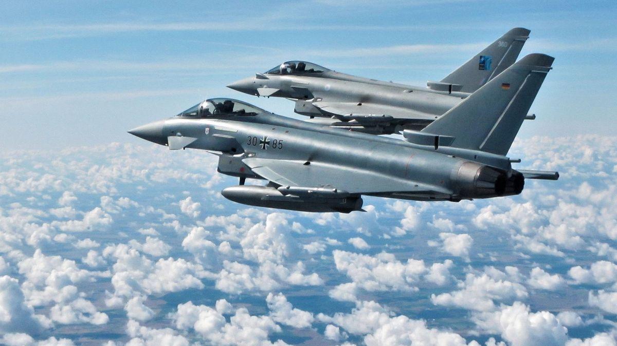 Luftwaffe und Royal Airforce fliegen gemeinsam über Baltikum