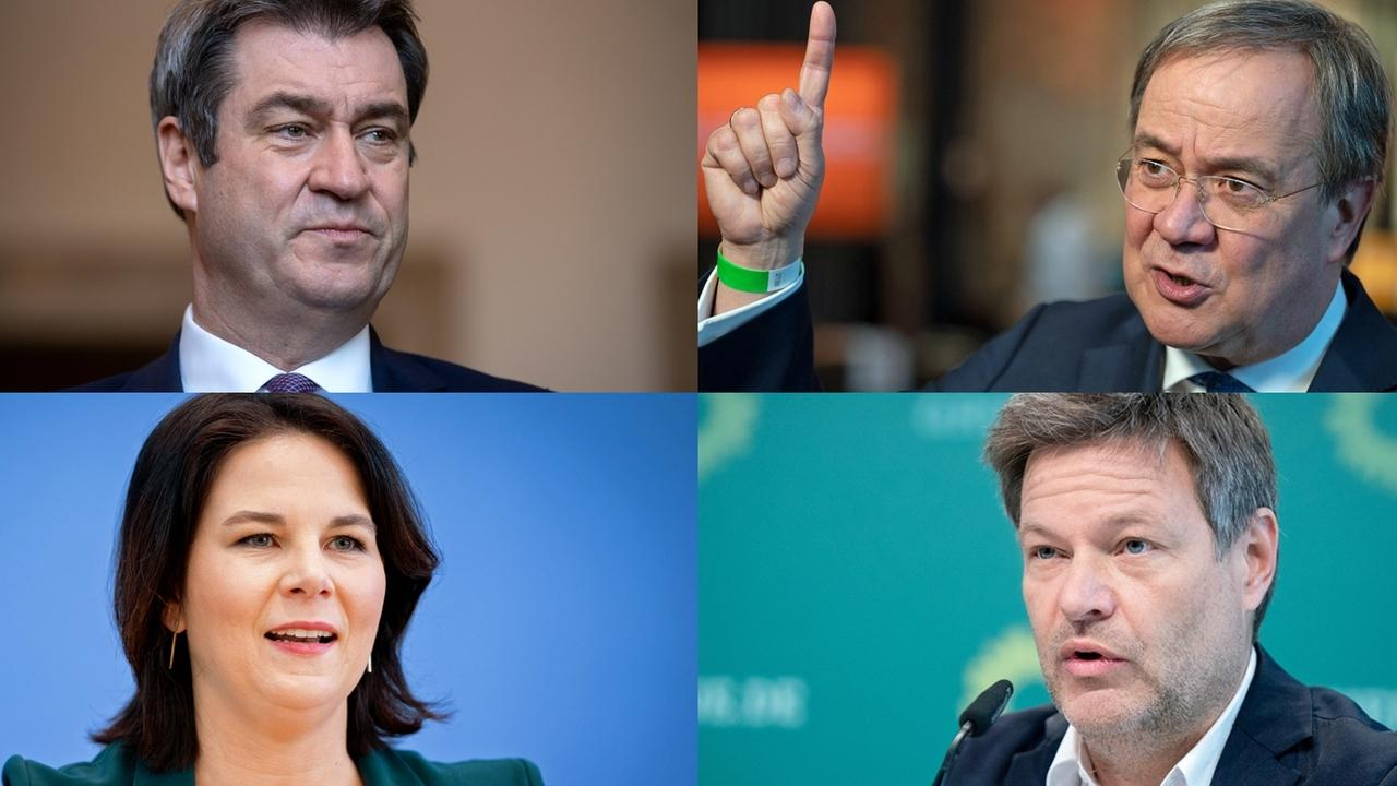 Markus Söder (CSU), Armin Laschet (CDU), Annalena Baerbock, Robert Habeck (beide Bündnis 90/Die Grünen