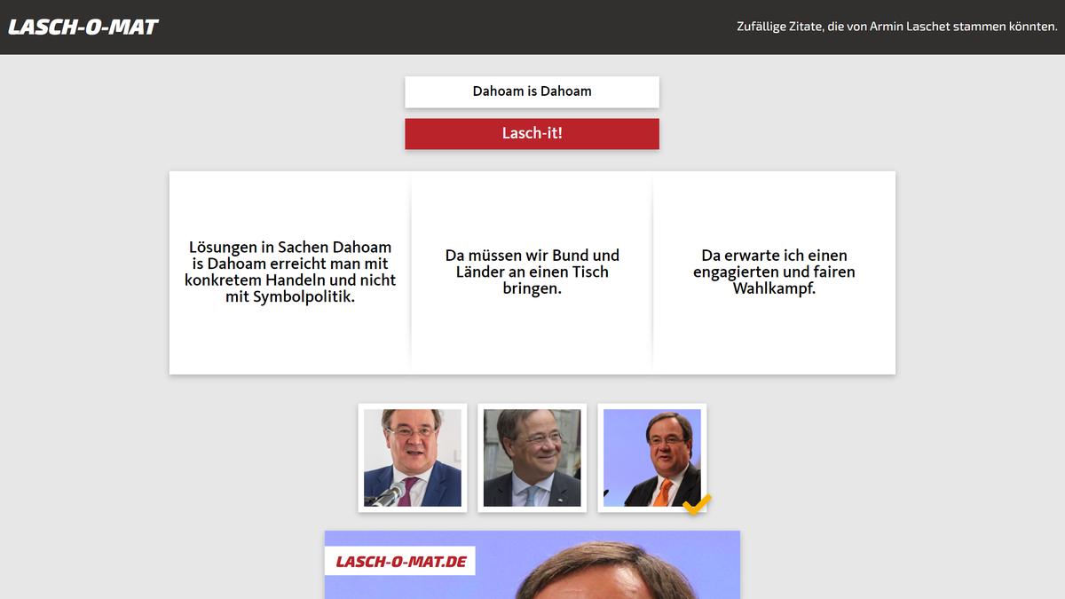 Die Website Lasch-O-Mat setzt zu jedem Thema ein fiktives Zitat von Armin Laschet zusammen.