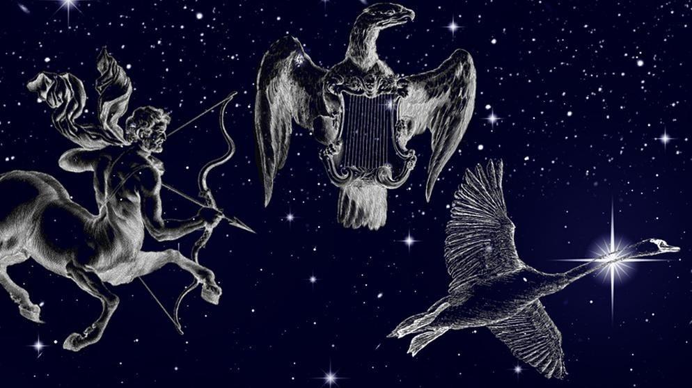 symbolische Darstellung der Sternilder Leier (Lyra), Schwan (Cygnus) und Schütze (Sagitarius) vor dem Sternenhimmel