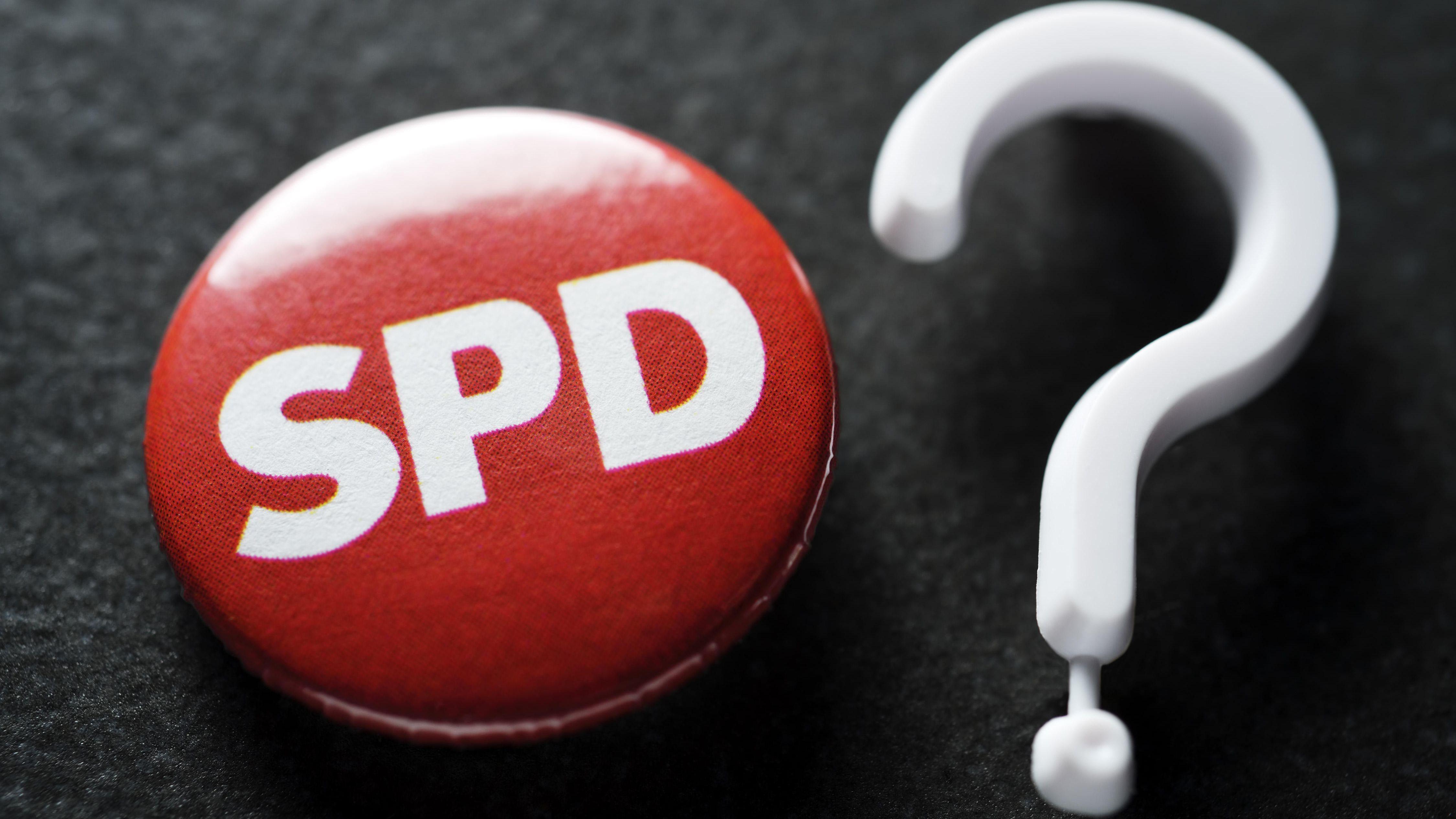 SPD-Sticker mit Fragezeichen