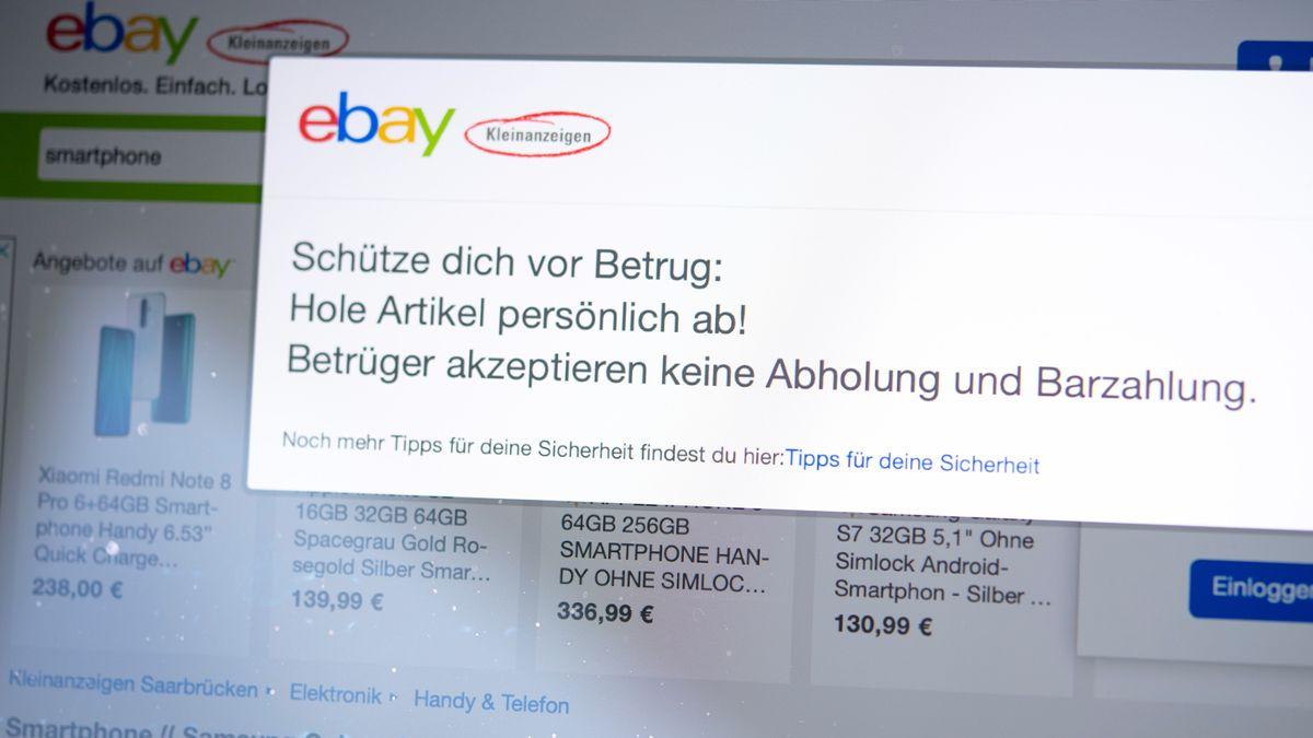 Die Online-Verkaufsplattform ebay Kleinanzeigen empfiehlt, gekaufte Waren persönlich abzuholen und dann zu bezahlen.