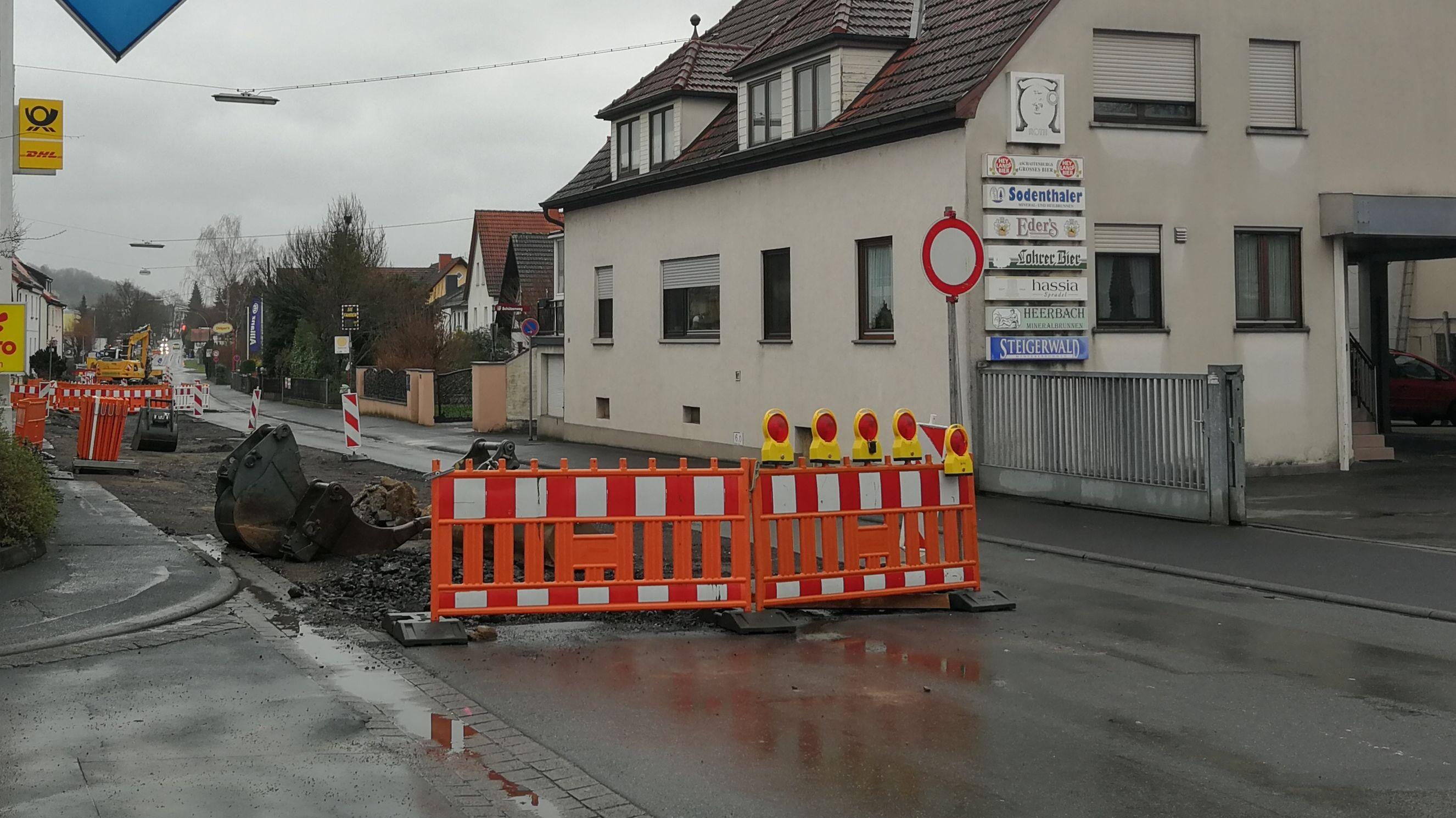 Baustelle an der Hösbacher Hauptstraße