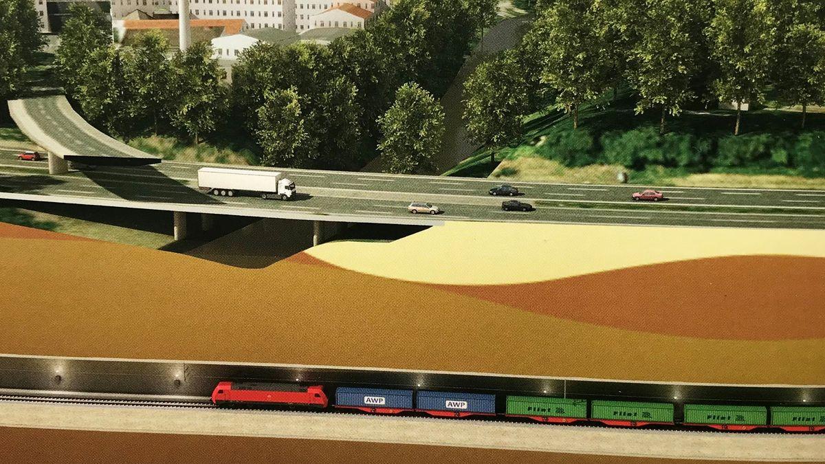 Planskizze für den Tunnel: Ein Güterzug fährt unter dem Frankenschnellweg.