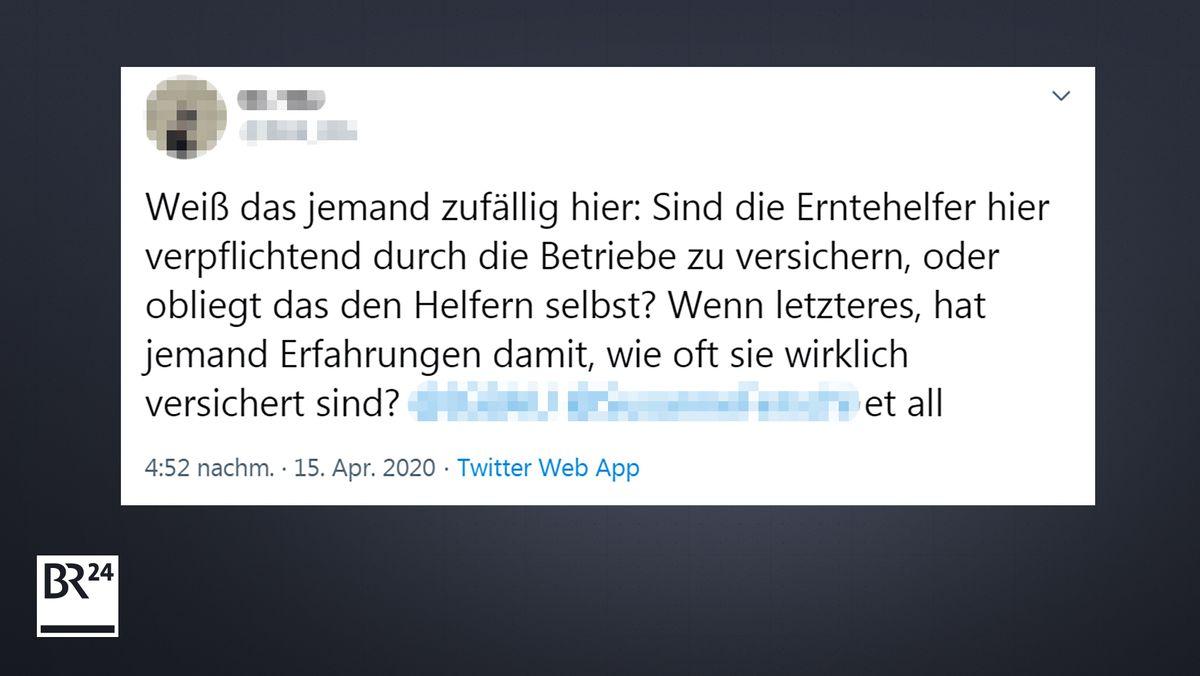 Anlass für den Faktenfuchs: Ein Twitter-User fragt, wie es um die Krankenversicherung von Erntehelfern in Deutschland steht.
