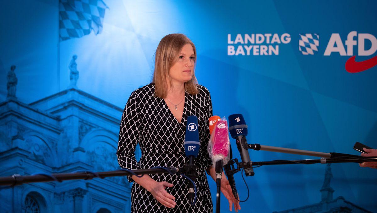 Die bayerische AfD-Fraktionsvorsitzende Katrin Ebner-Steiner, aufgenommen am 27.05.20 bei einer Pressekonferenz im Landtag.