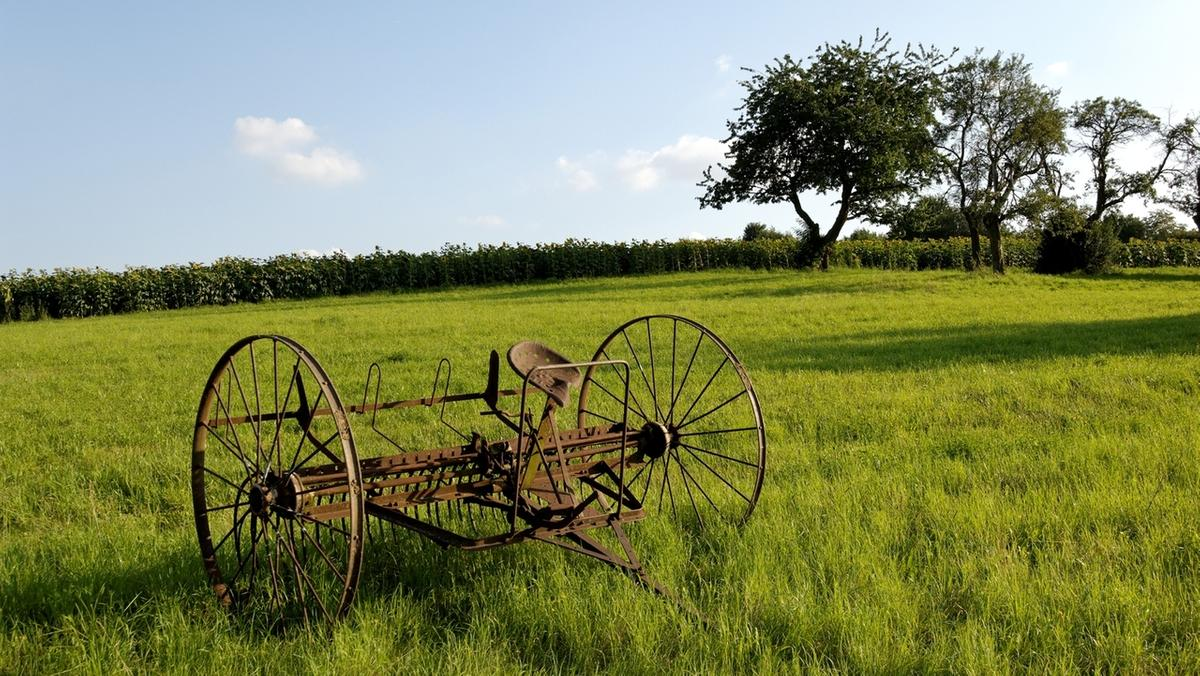 Landwirtschaft: Historische Landwirtschaftliche Maschine auf einem Feld.