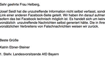 Screenshot, Schreiben der 1. Stellv. Landesvorsitzenden der AfD Bayern Katrin Ebner Steiner an die Autorin Cristina Helberg.