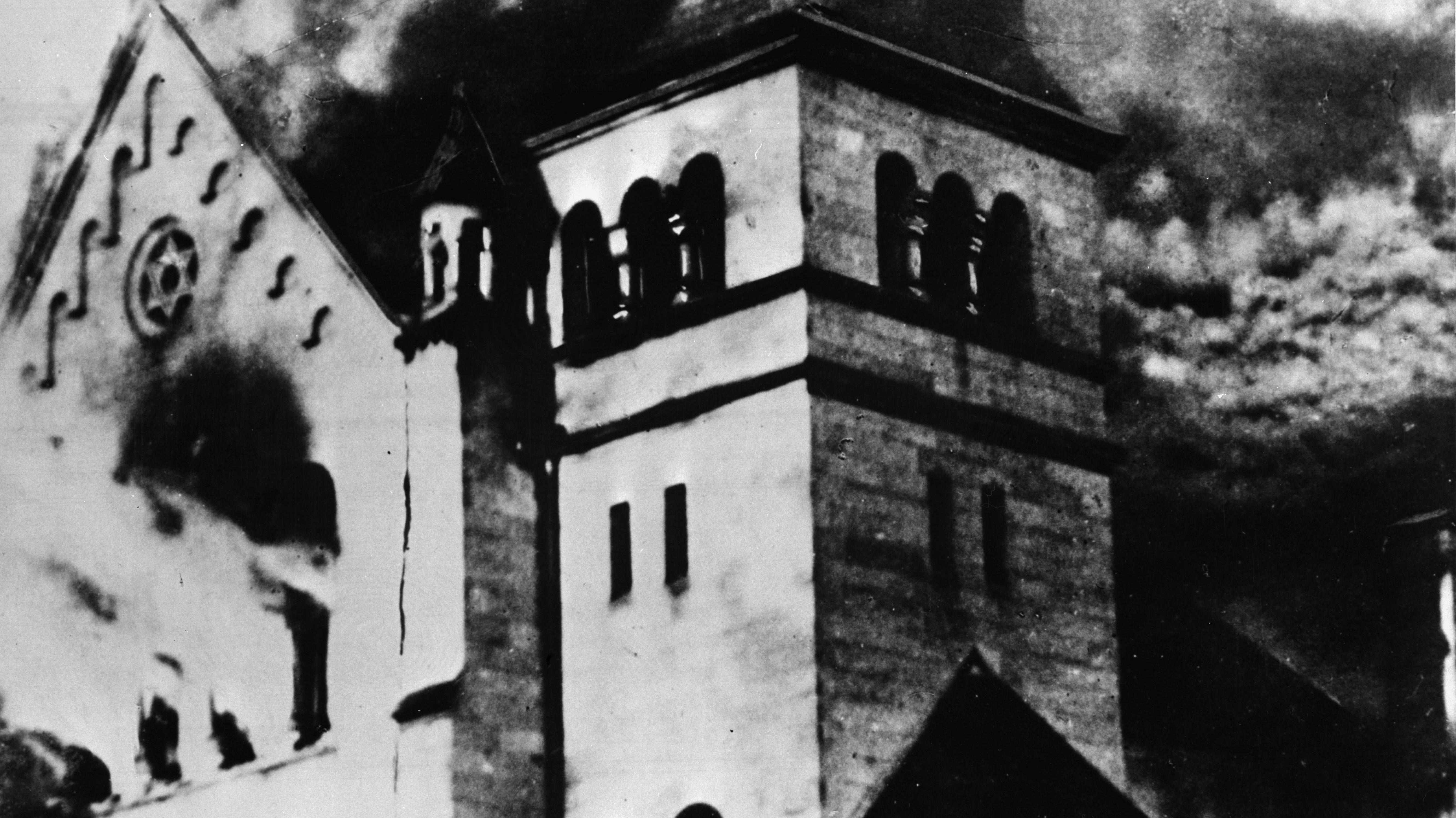 Brennende Synagoge am 9.11.1938 in Deutschland
