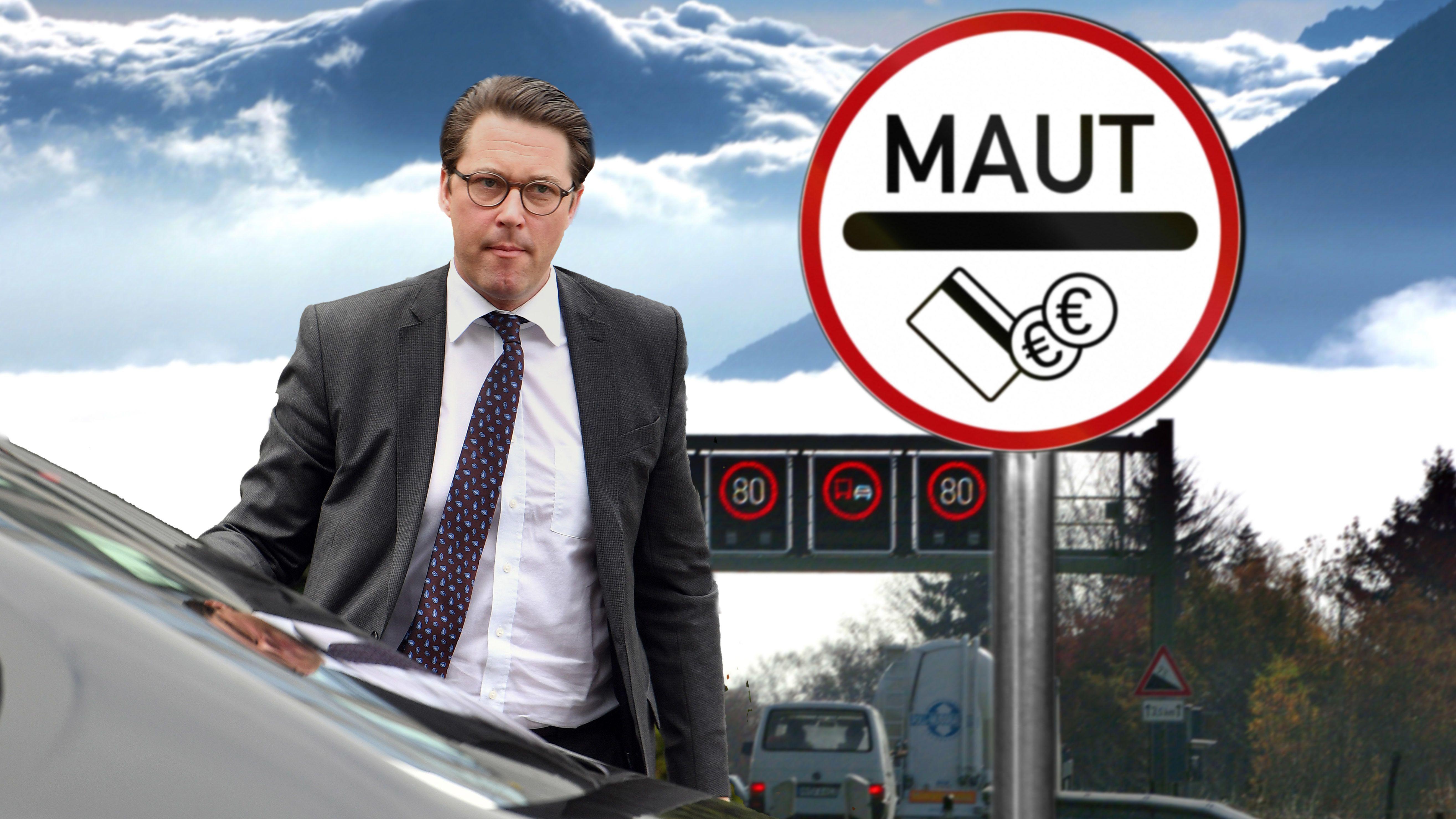 Verzweifelter Andreas Scheuer neben Maut-Schild