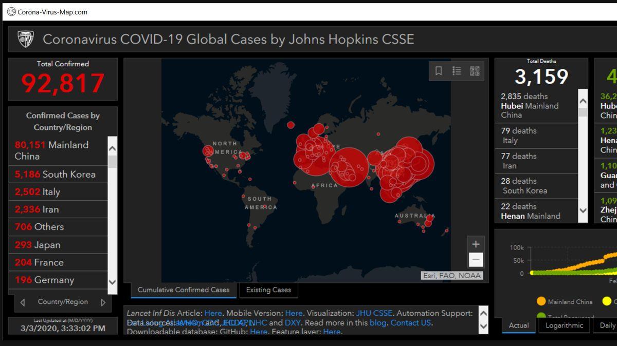 Infizierter Screenshot US-Forschungsinstitut Johns Hopkins University