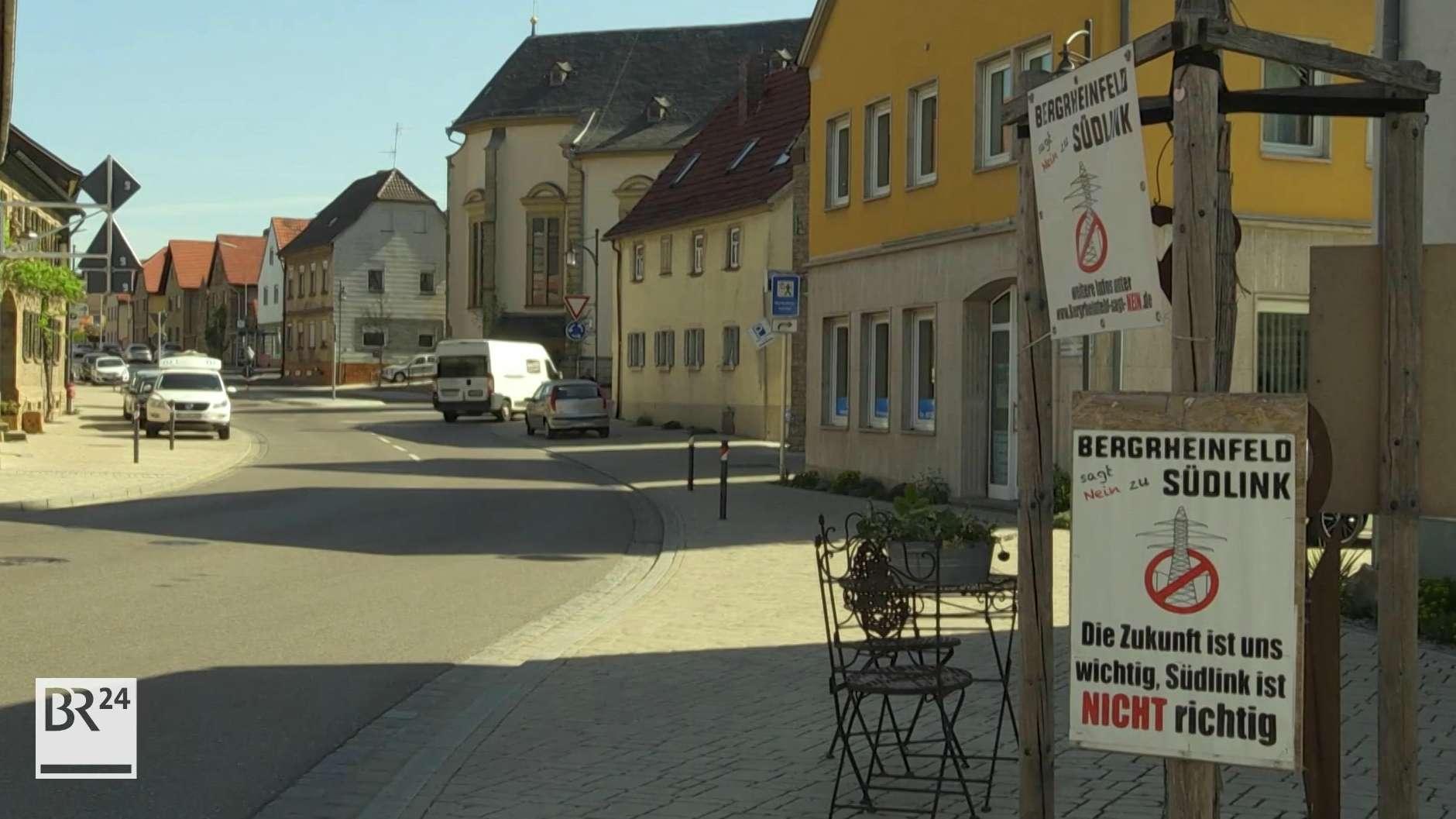 Plakate gegen SuedLink in Bergrheinfeld
