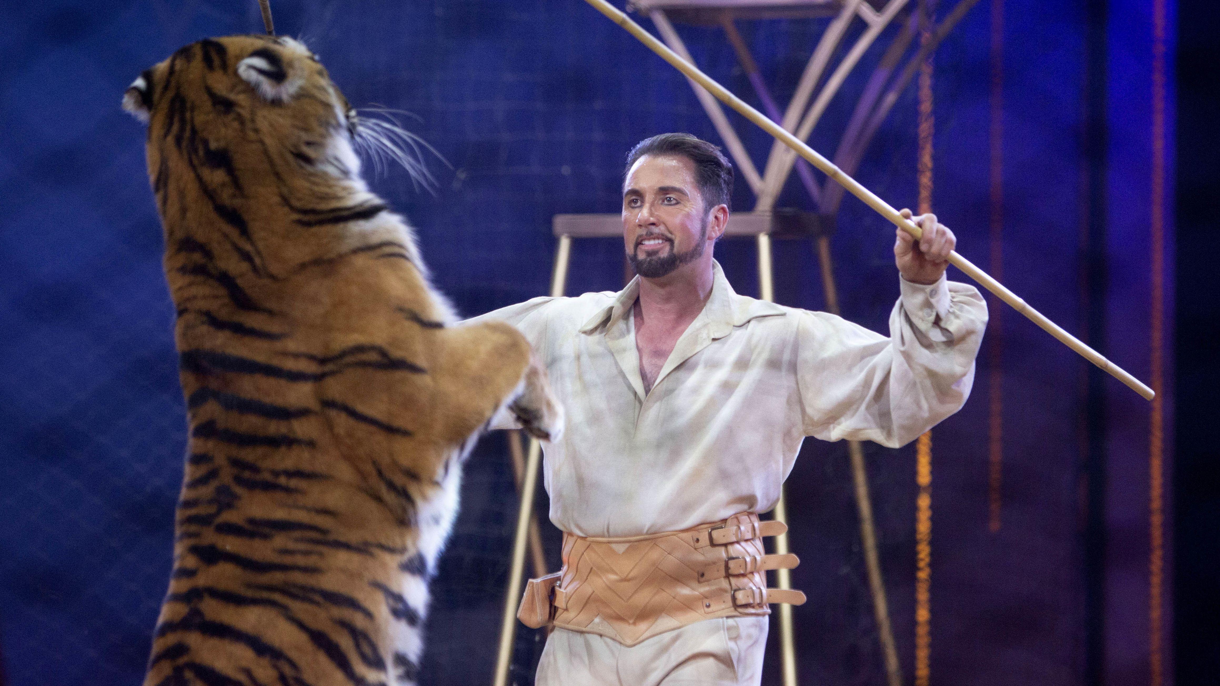 Martin Lacey jr. bei der Vorführung einer Tiger-Dressur