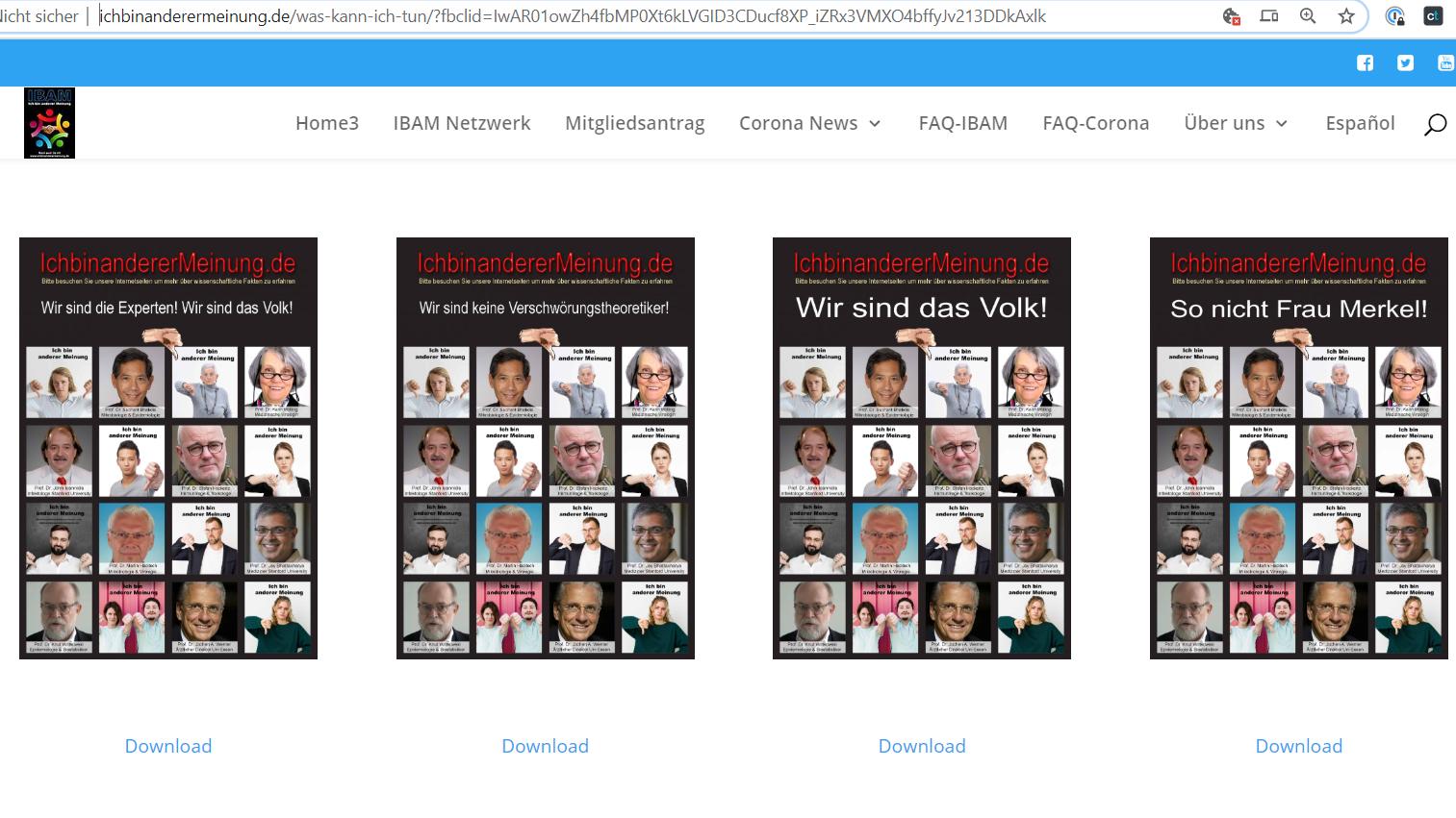 """Ein Screenshot (Stand: 05.04.2020) zeigt IBAM-Plakate mit der Aufschrift """"Wir sind das Volk!""""."""