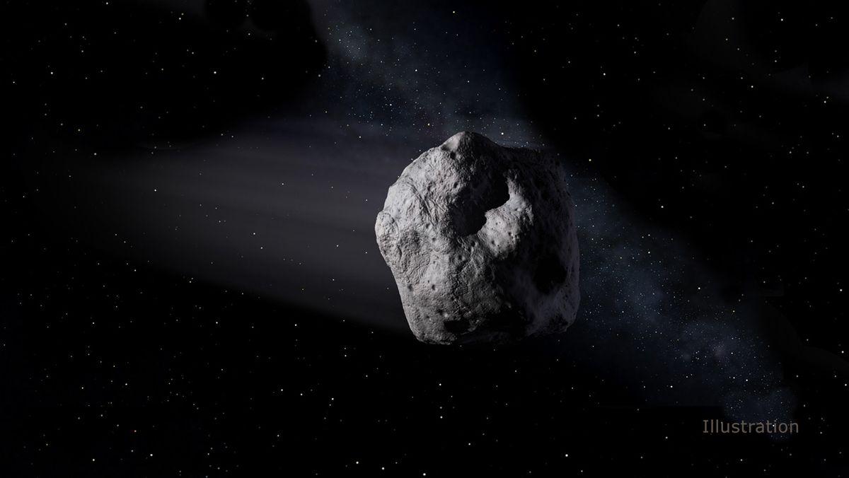 """Darstellung des zwei Kilometer breiten Asteroiden """"1998 OR2""""."""