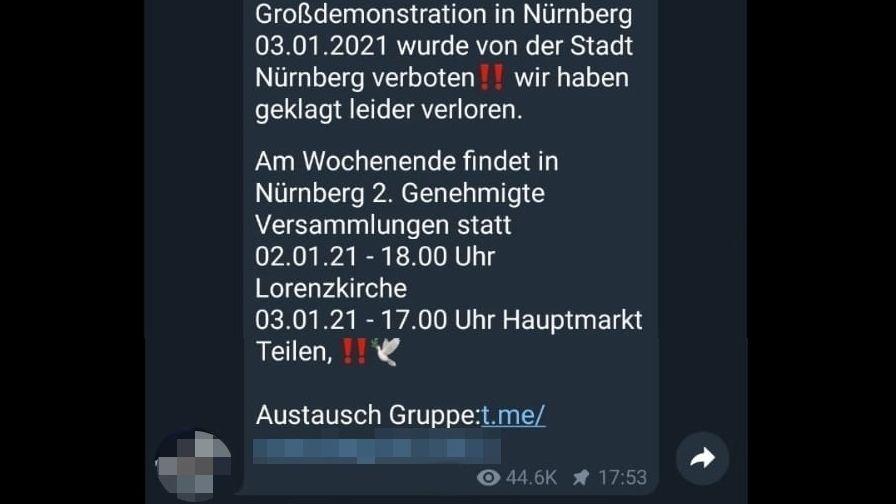 """Mobilisierungsaufruf eines """"Querdenkers"""" für die Kundgebung am Sonntag in einem Telegram-Chat"""