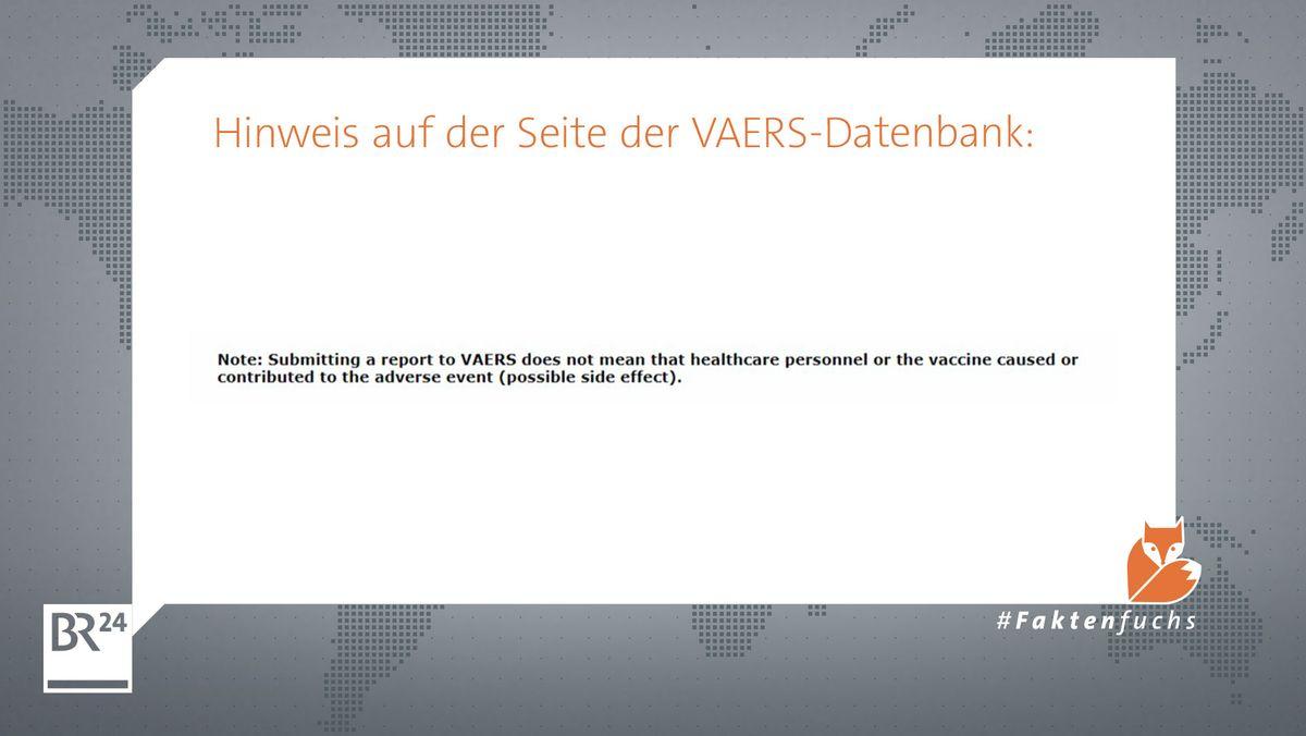 Dieser Hinweis wird auf der Seite der VAERS-Datenbank angezeigt.
