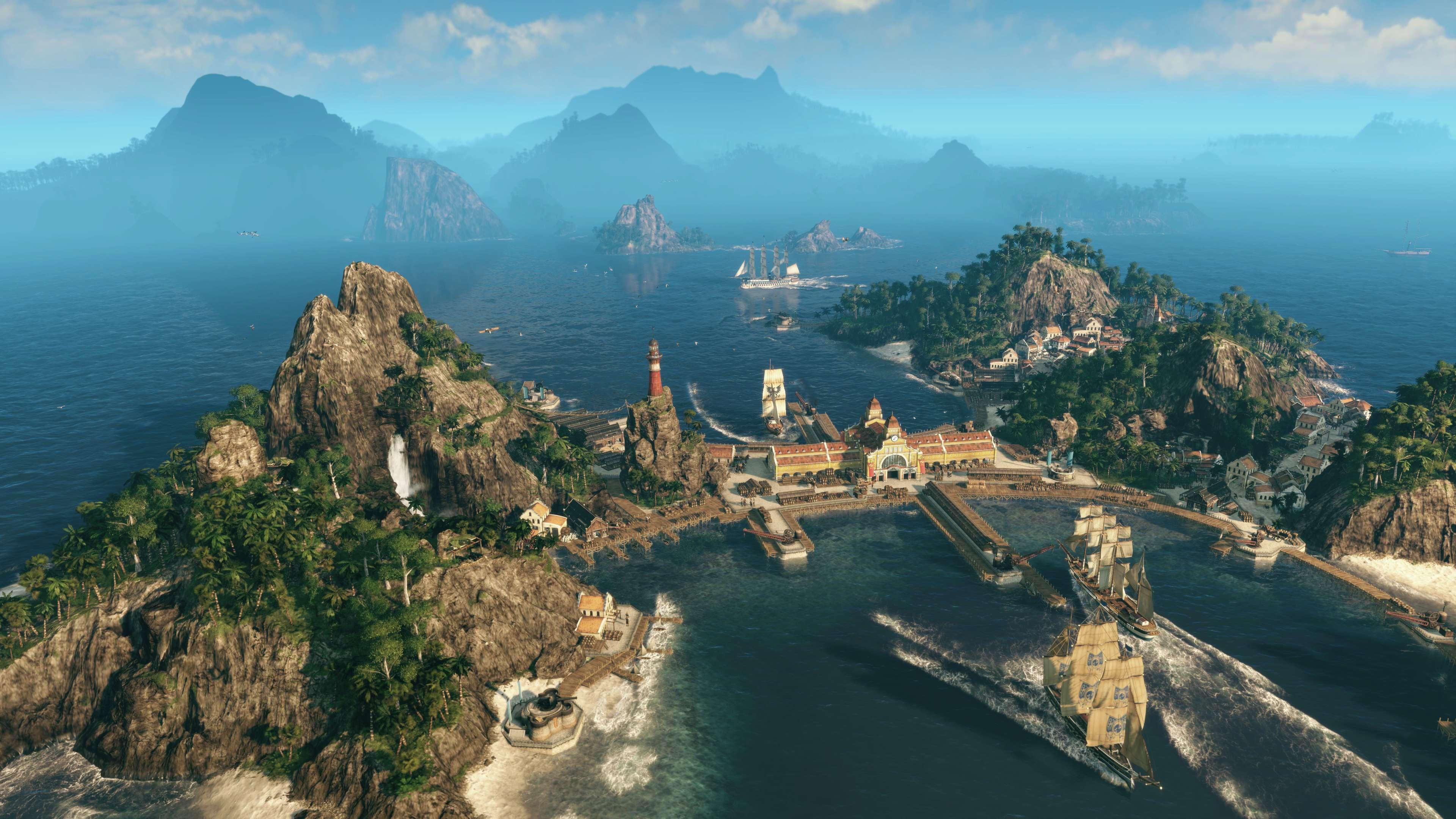 Zwei kleine Inseln im Ozean, die durch einen Hafen miteinander verbunden sind. Schiffe verlassen den Hafen.