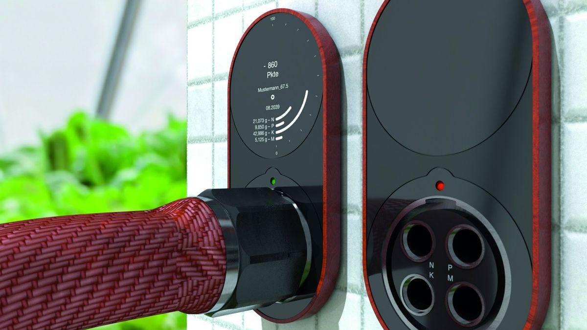 Die Designstudie von Sabrina Großkopp zeigt ein digitalisiertes Toilettensystem: Fäkalien werden in einen Tank geleitet, ein Display zeigt den Nährstoffgehalt an