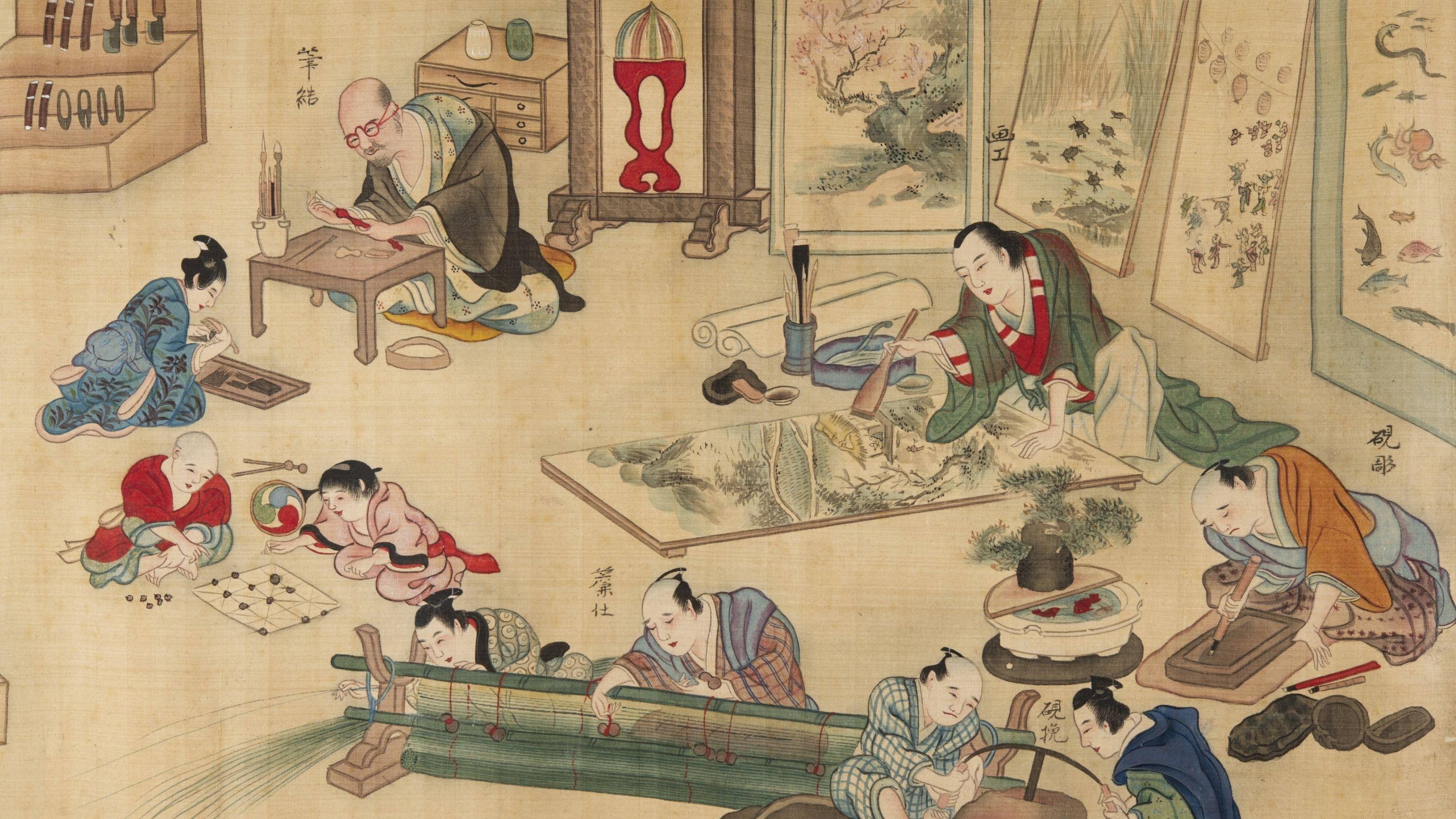 Detail aus einem Rollbild der japanischen Kunstgewerke, Japan, Edo-Zeit (1603–1868)