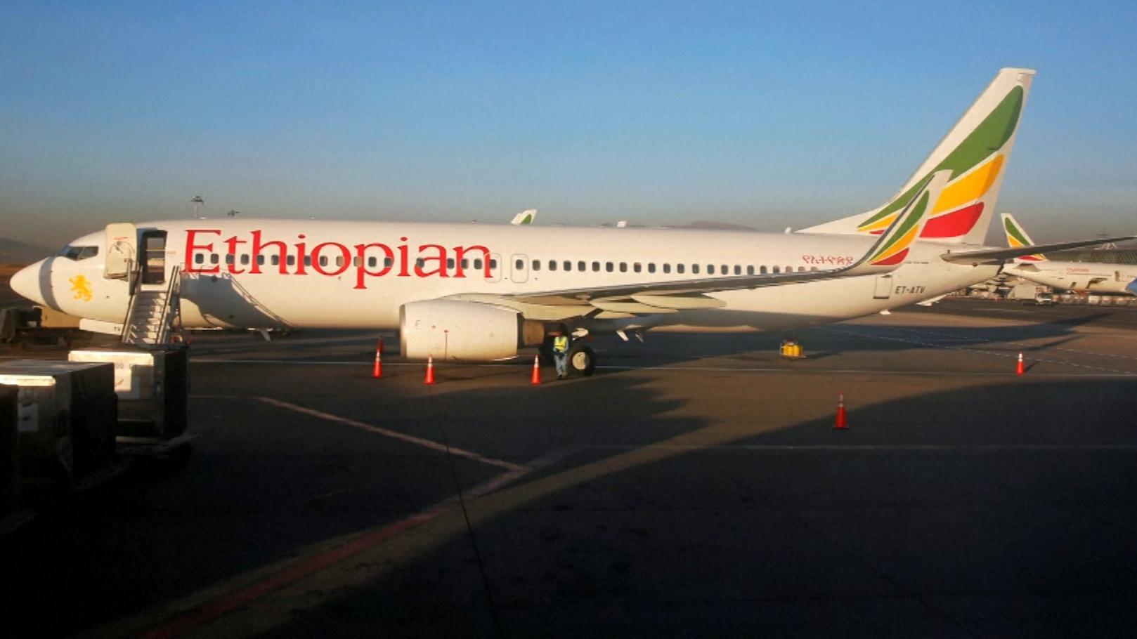 Boeing 737 MAX der Ethiopian Airlines auf dem Gelände des Addis Ababa Bole International Airport in Addis Abeba.
