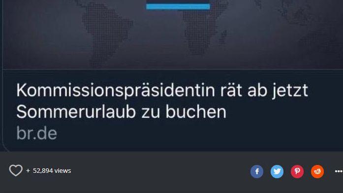 """Ohne Komma steht in der Schlagzeile """"Kommissionspräsidentin rät ab jetzt Sommerurlaub zu buchen"""". Kann heißen: Jetzt buchen. Oder: Lieber nicht."""