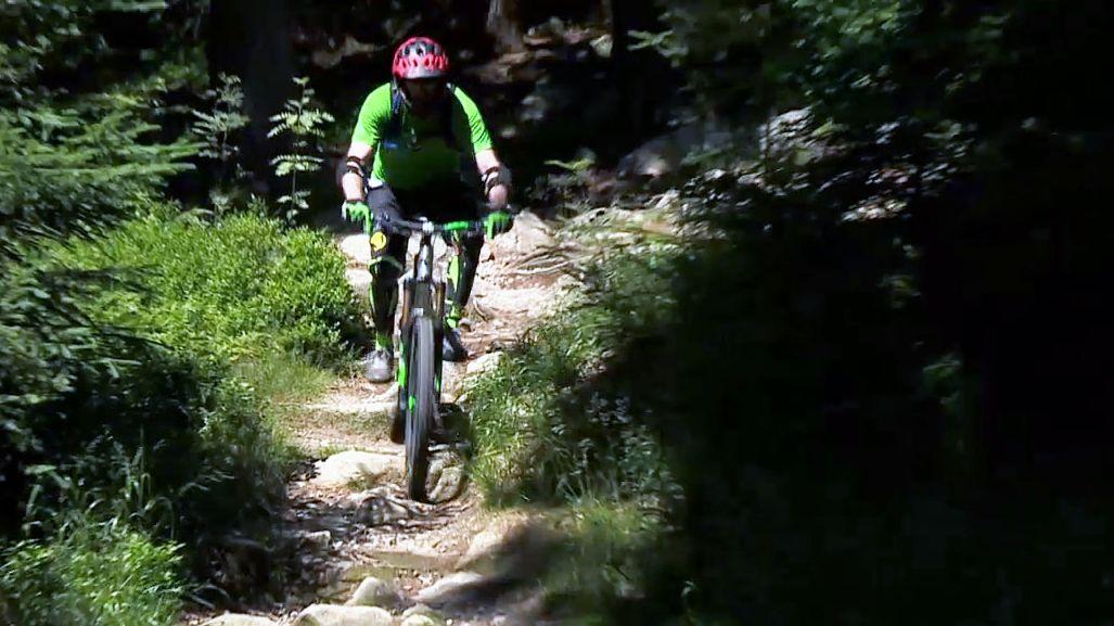 Ein Mountainbikefahrer fährt auf einer Strecke am Kornberg.