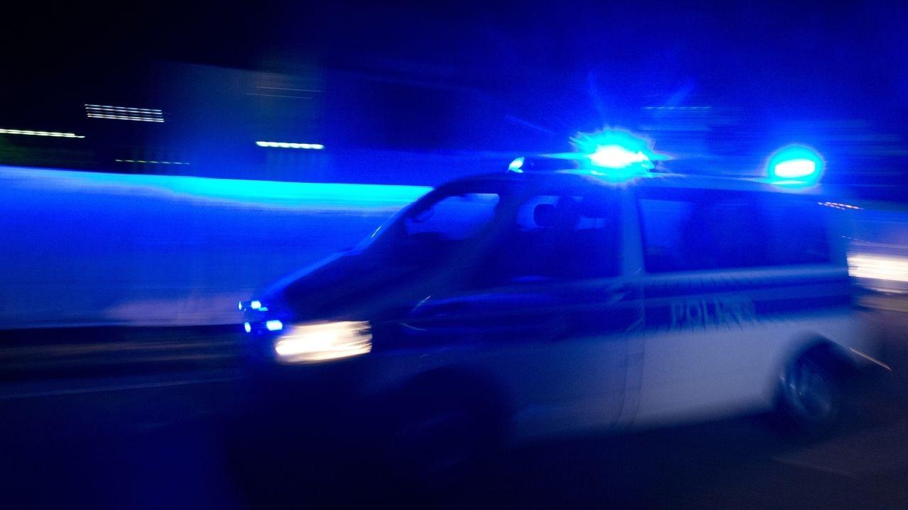Blaulicht und Polizeiwagen in der Nacht (Symbolbild).