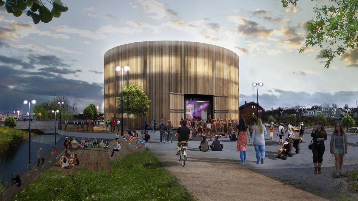 Eine Animation des geplanten Globe-Theaters in Coburg.