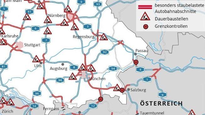 Ausschnitt aus: ADAC Stauprognose Süddeutschland Sommerferien 2019