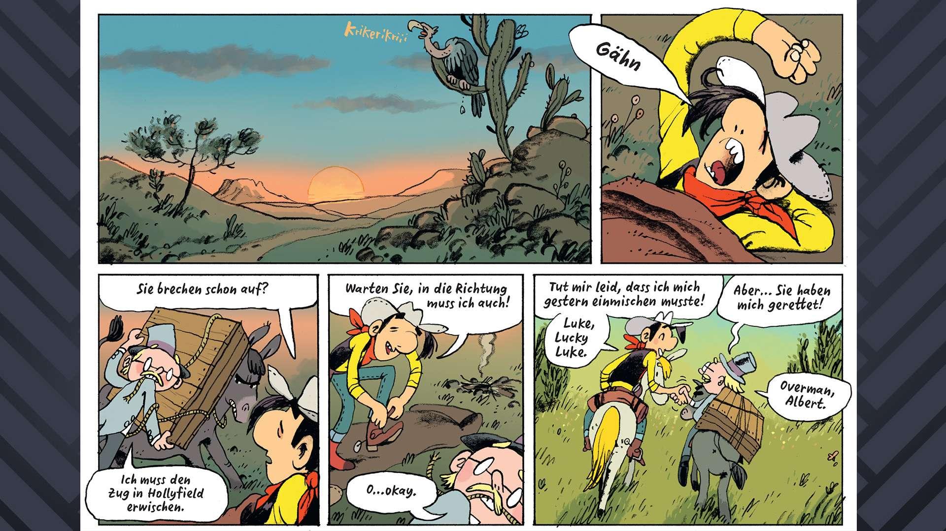 """Lucky Luke wacht auf. Ein kleiner blonder Mann mit Hut lädt eine große Holzkiste auf sein wütendes Pferd. Lucky Luke fragt: """"Sie brechen schon auf?"""". Er antwortet: """"Ich muss den Zug nach Hollyfield erwischen."""" Lucky Luke darauf: """"Warten Sie, in die Richtung muss ich auch."""" Gemeinsam reiten sie los und stellen sich einander vor."""