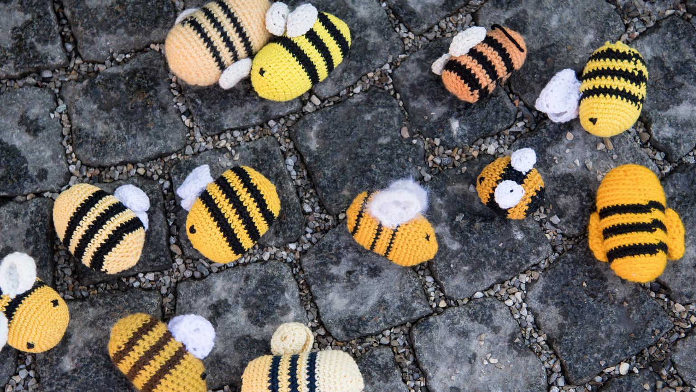 """Bayern, München: """"Tote Bienen"""" liegen symbolisch während einer Demonstration vor dem Landtag auf der Straße."""