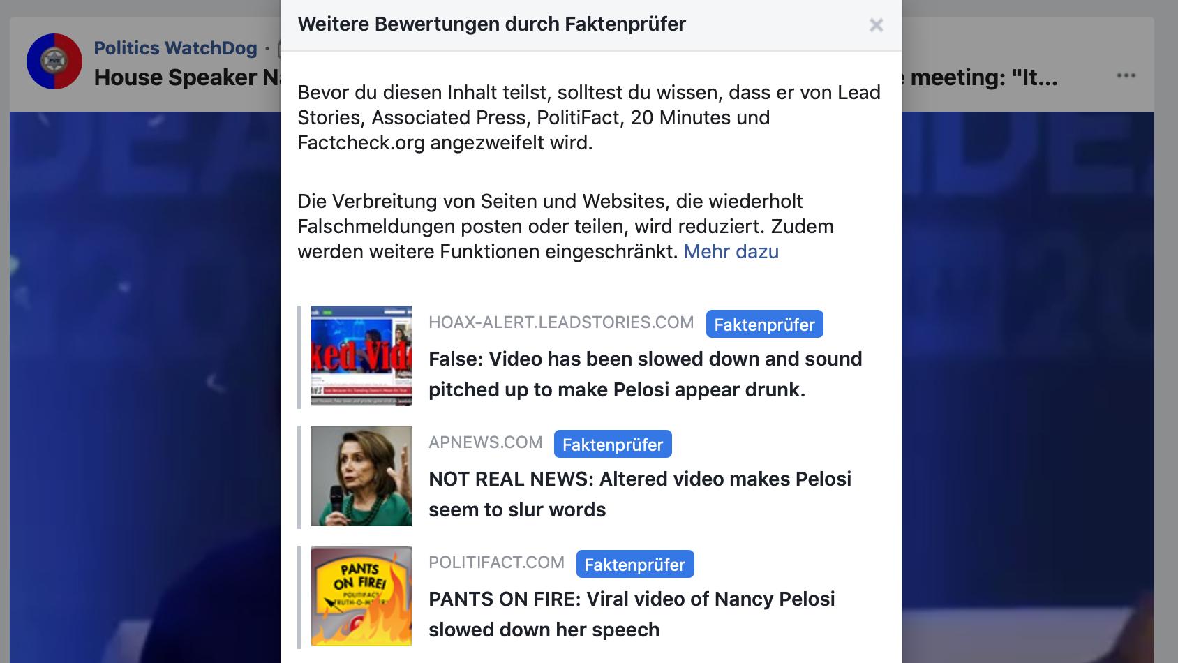 Screenshot Facebook Hinweis auf Fake-Video