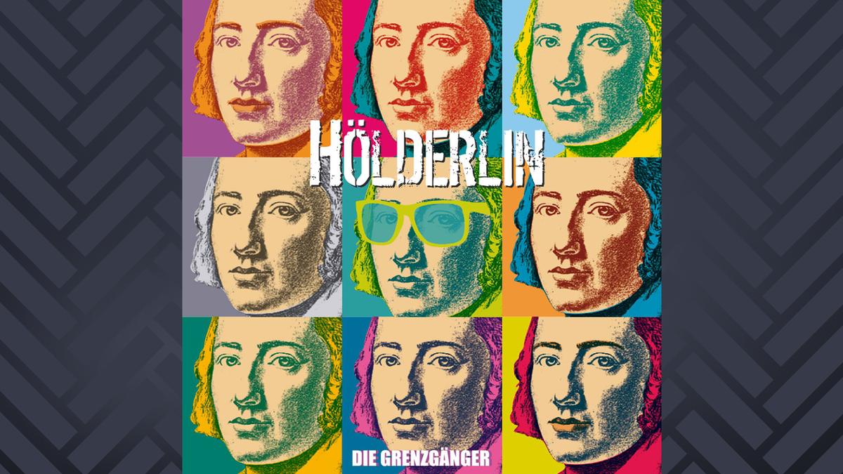 Cover der Hölderlin-Platte von den Grenzgängern zeigt Hölderlin in der Optik von Andy Warhols bunten Pop-Drucken