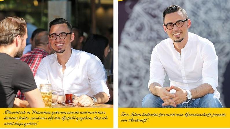 Zwei Fotos nebeneinander zeigen Erkan. Bildüberschrift: Ich bin Muslim - Ich bin Münchner